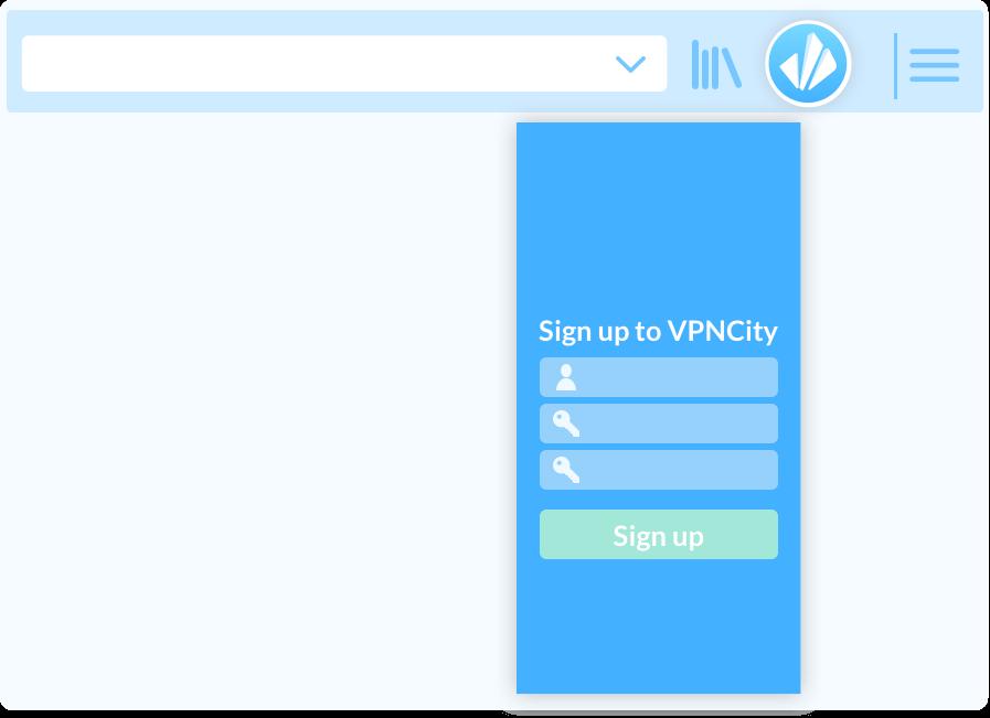 VPNCity desktop register image